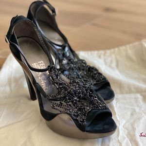 Ferragamo beaded evening shoe. Excellent condition